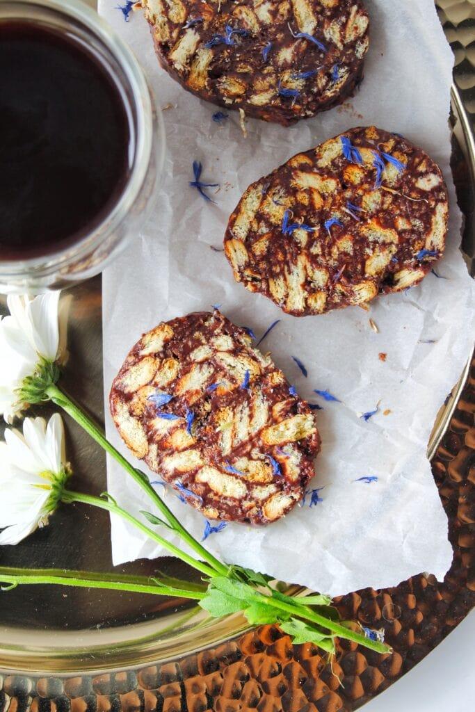 Easy no bake lazy cake on a tray