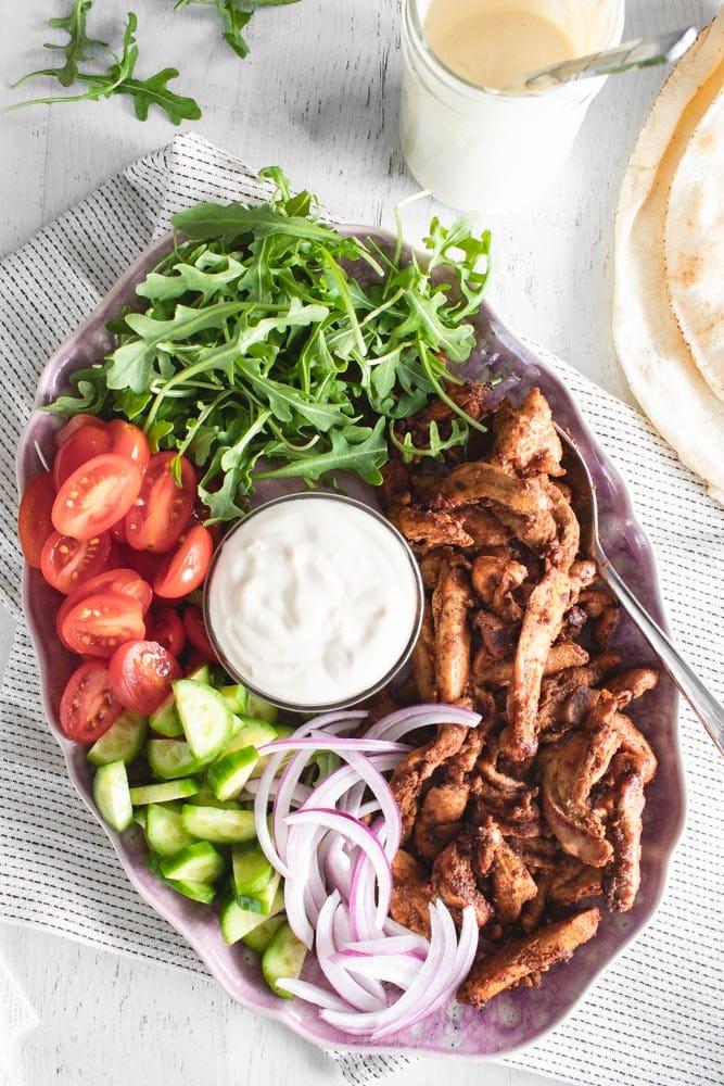 Sheet Pan Chicken Shawarma Wrap with Yogurt Tahini Sauce