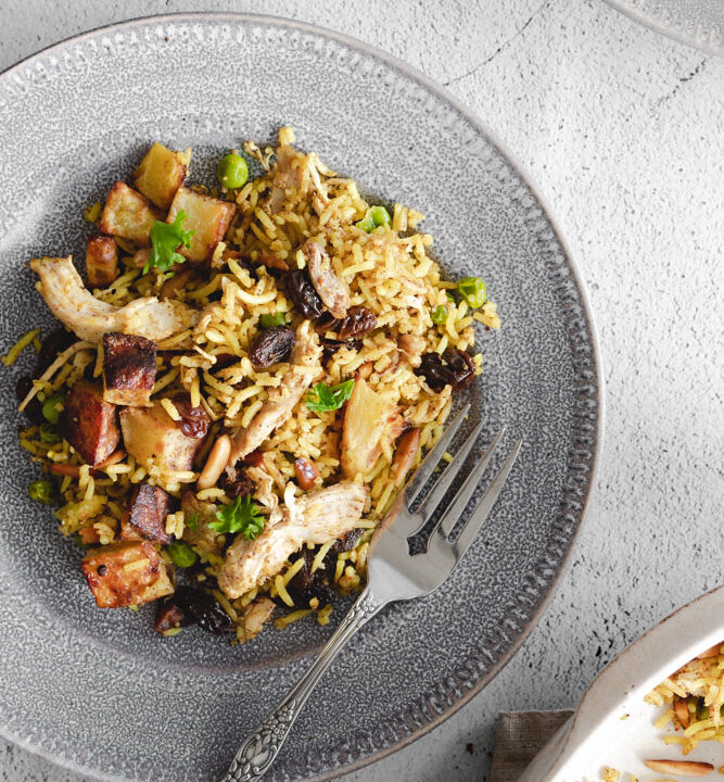 Chicken Biryani on a Plate