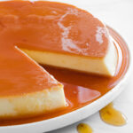 Creme caramel on a serving dish