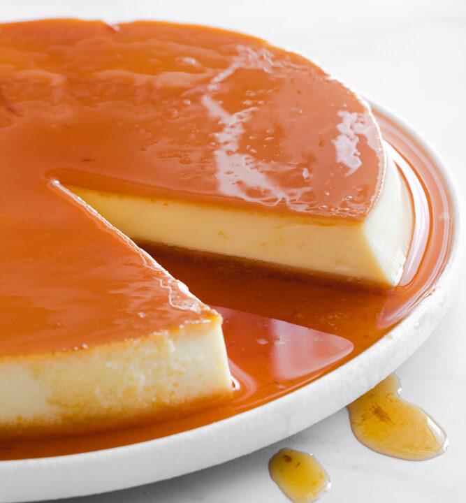 Creme caramel on a serving dish