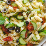 vegan mediterranean pasta salad in a bowl