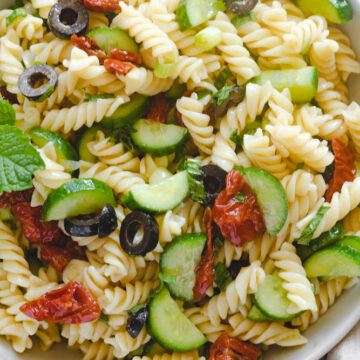 vegan mediterranean pasta salad in a bowl