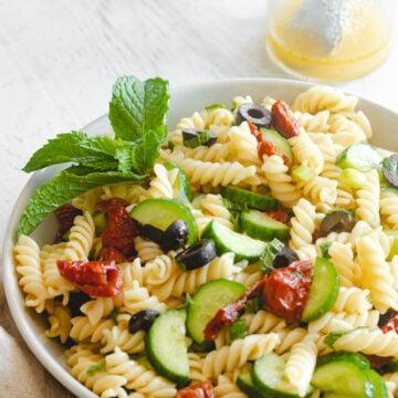 vegan Mediterranean pasta salad served in a bowl