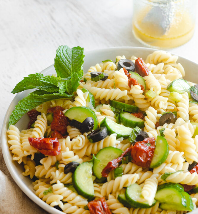 vegan Mediterranean pasta salad served in a bowl