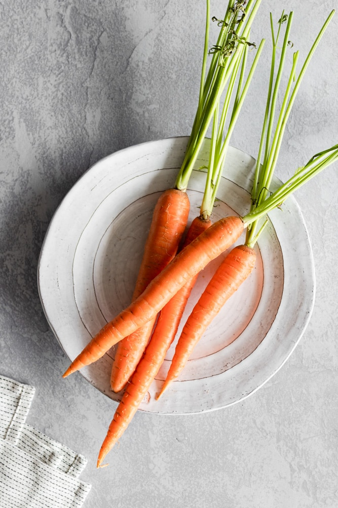 Carrots on a white plate