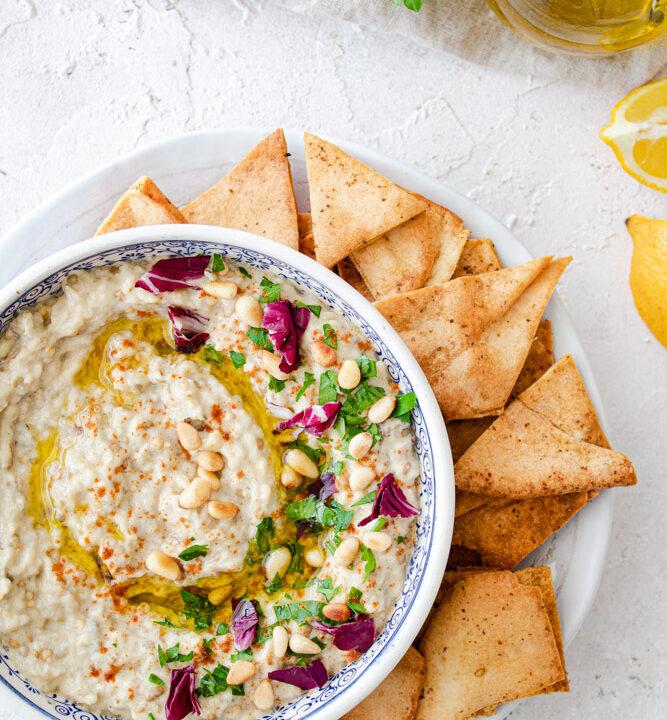 baba ghanoush served with pita chips