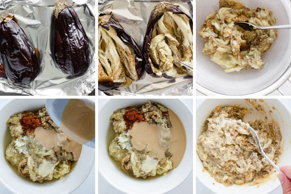 Process steps for baba ghanoush. First roast the eggplant, then scoop out the flesh and drain it over a sieve. Mix the eggplant with the tahini, salt, garlic, and paprika.