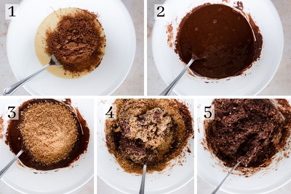 Chocolate biscuit balls recipe process steps. Mix condensed milk with cocoa powder. Add crushed biscuits and mix well.