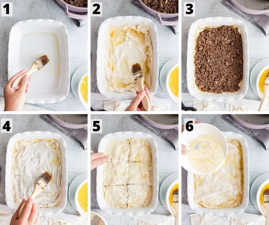 Process steps for phyllo meat pie. First brush the pan with butter and oil. Add the phyllo pastry and brush every third layer with butter and oil. Add the ground beef mixture. Add the phyllo pastry and brush with butter and oil. Cut the pie into pieces. Pour the milk and egg mixture on top.