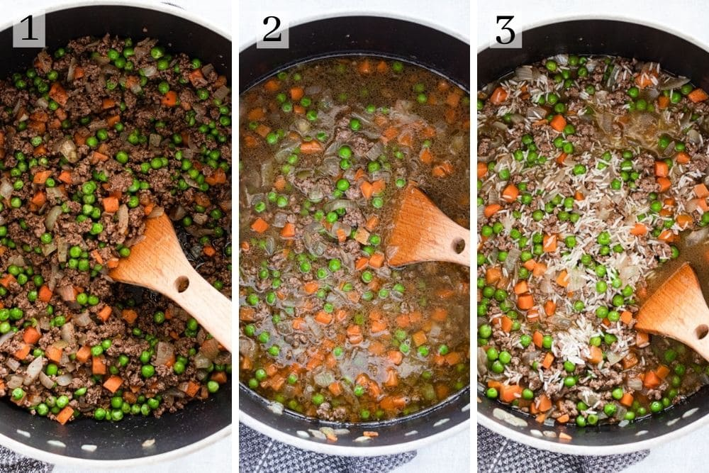 Process steps for hashweh rice. First cook the onions, beef and vegetables with the spices. Then add the water, then add the rice.
