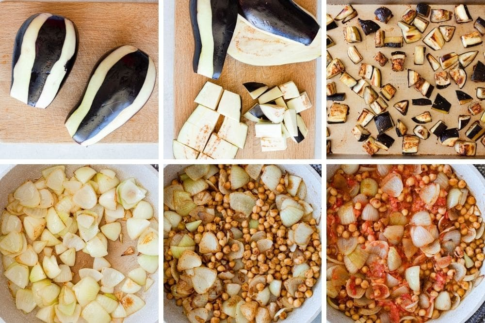 Process steps for Lebanese moussaka. First, peel and chop the eggplant. Roast the eggplant in the oven. Cook the onions, cook the chickpeas, then cook the tomato and add the eggplant