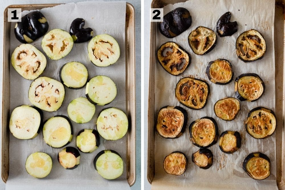 eggplant raw on a sheet pan on the left side and eggplant roasted on a sheet pan on the right side
