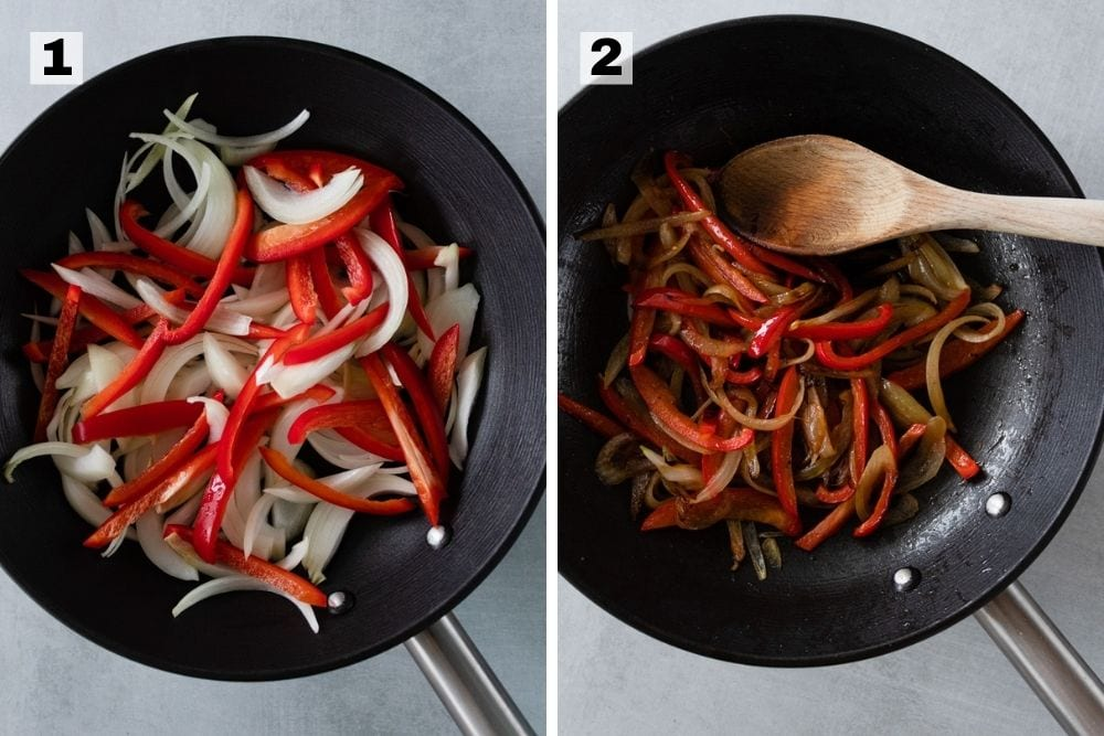 Onions and peppers raw in a black pan on the left. Onions and peppers cooked in a black pan on the right.