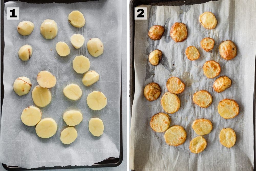 Raw potatoes on a sheet pan on the left side and potatoes roasted on a sheet pan on the right side