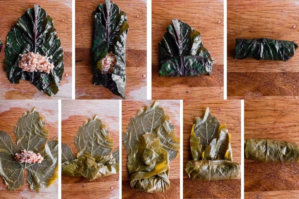 Step by step photos of how to stuff and roll swiss chard and grape leaves