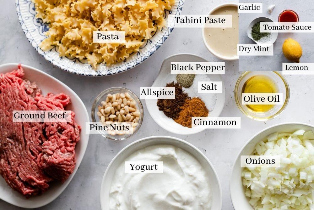 Ingredient list for Arabic pasta which is pasta, ground beef, yogurt, onions, pine nuts, tahini paste, olive oil, dry mint, tomato sauce, garlic, lemon, allspice, salt, cinnamon, black pepper