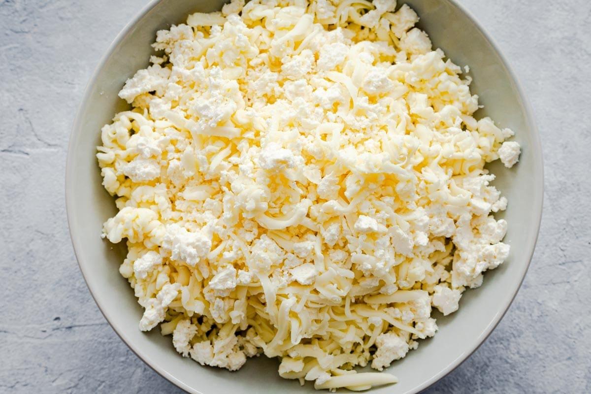 feta cheese mixed with fresh mozzarella