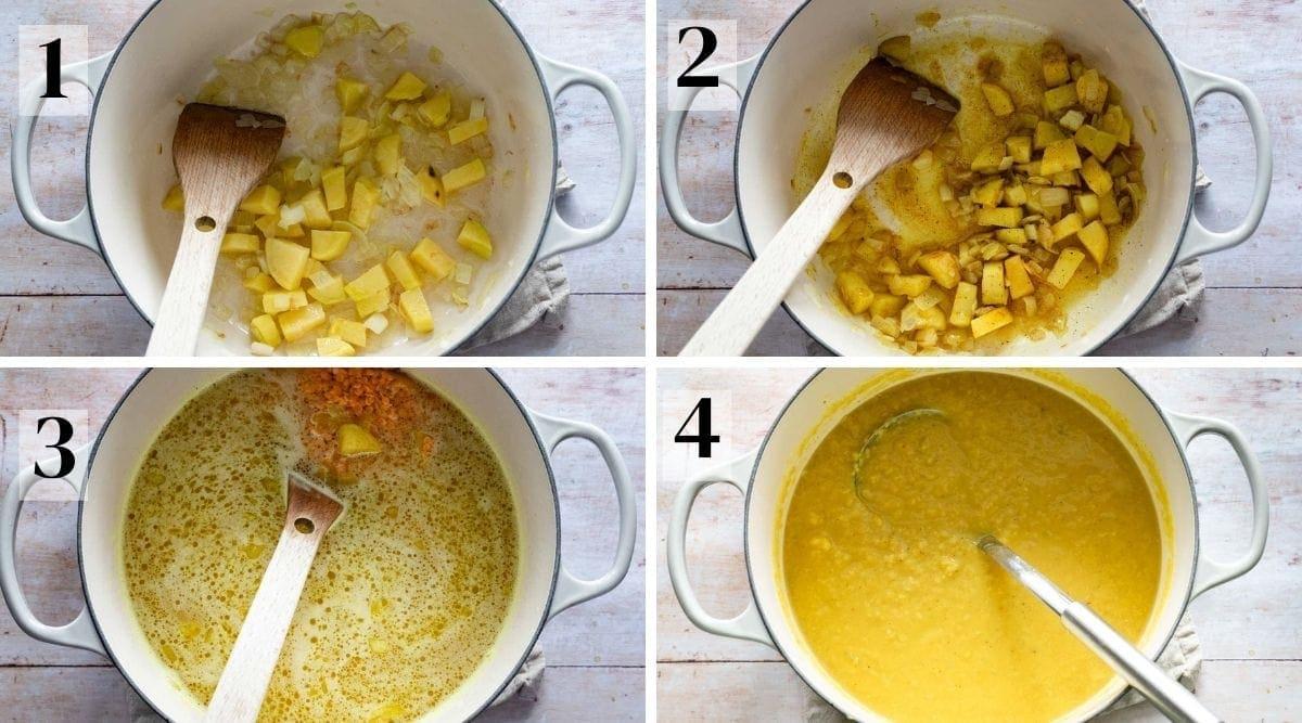 Process steps for making arabic lentil soup