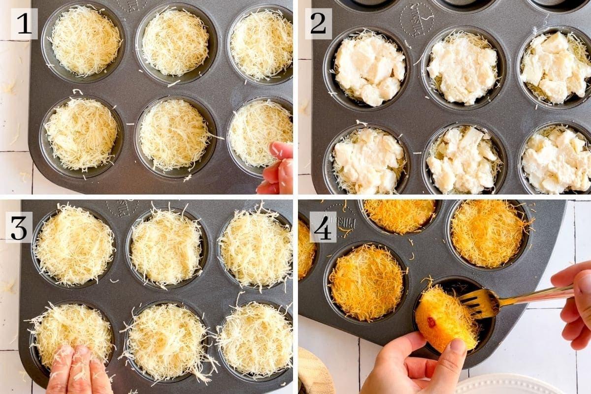 mini kunafa cooked in a muffin tin