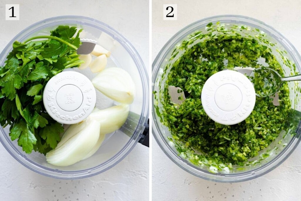 Parsley, onions and garlic being pulsed in a food processor
