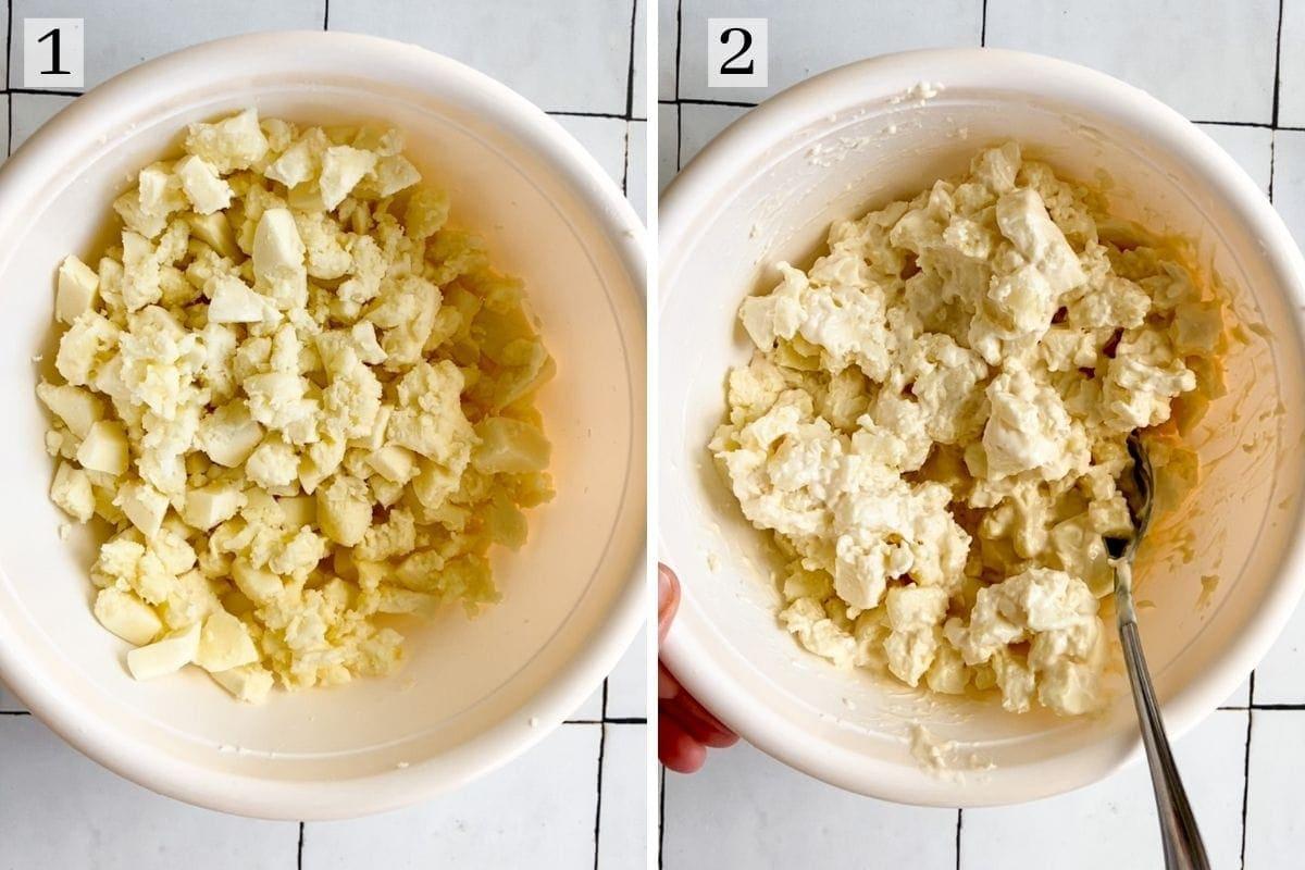 cut up mozzarella cheese mixed with cream