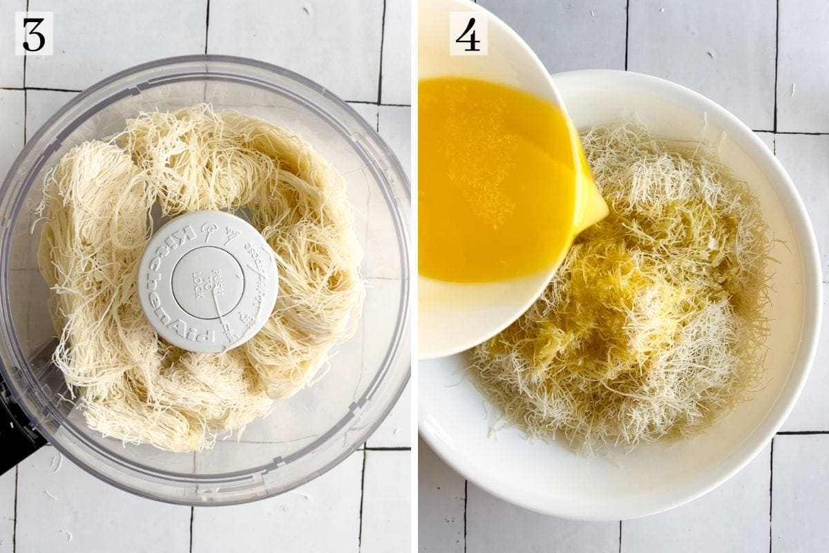 shredding phyllo dough in the food processor and adding butter