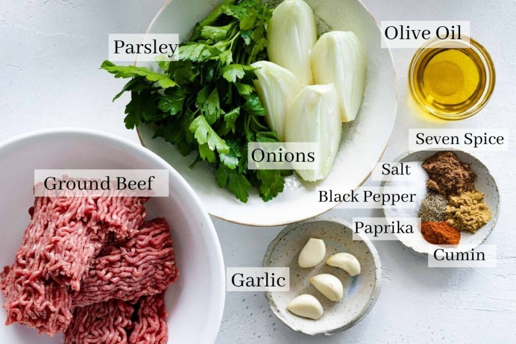 Kafta ingredients which are ground beef, parsley, onions, garlic, olive oil and spices