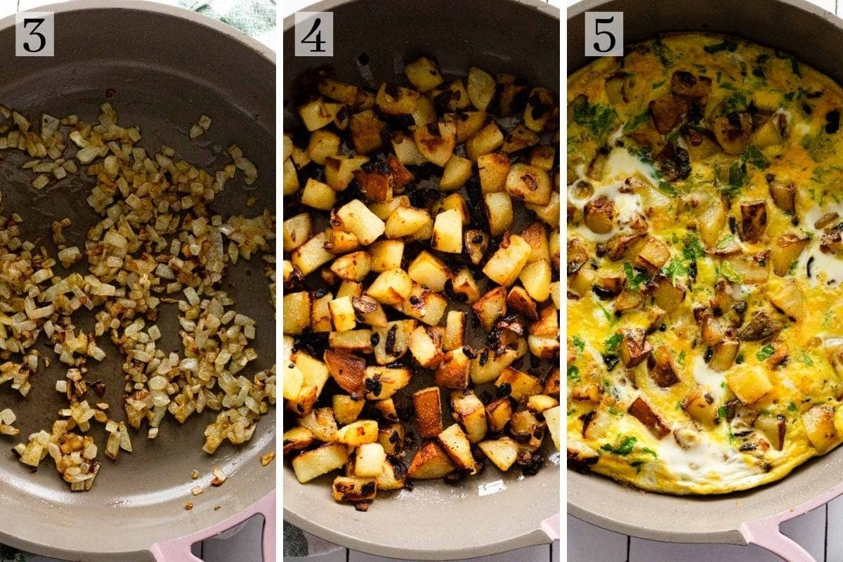 Process for making potato omelette, starting with cooking the onions, then the potatoes, then adding in the eggs.