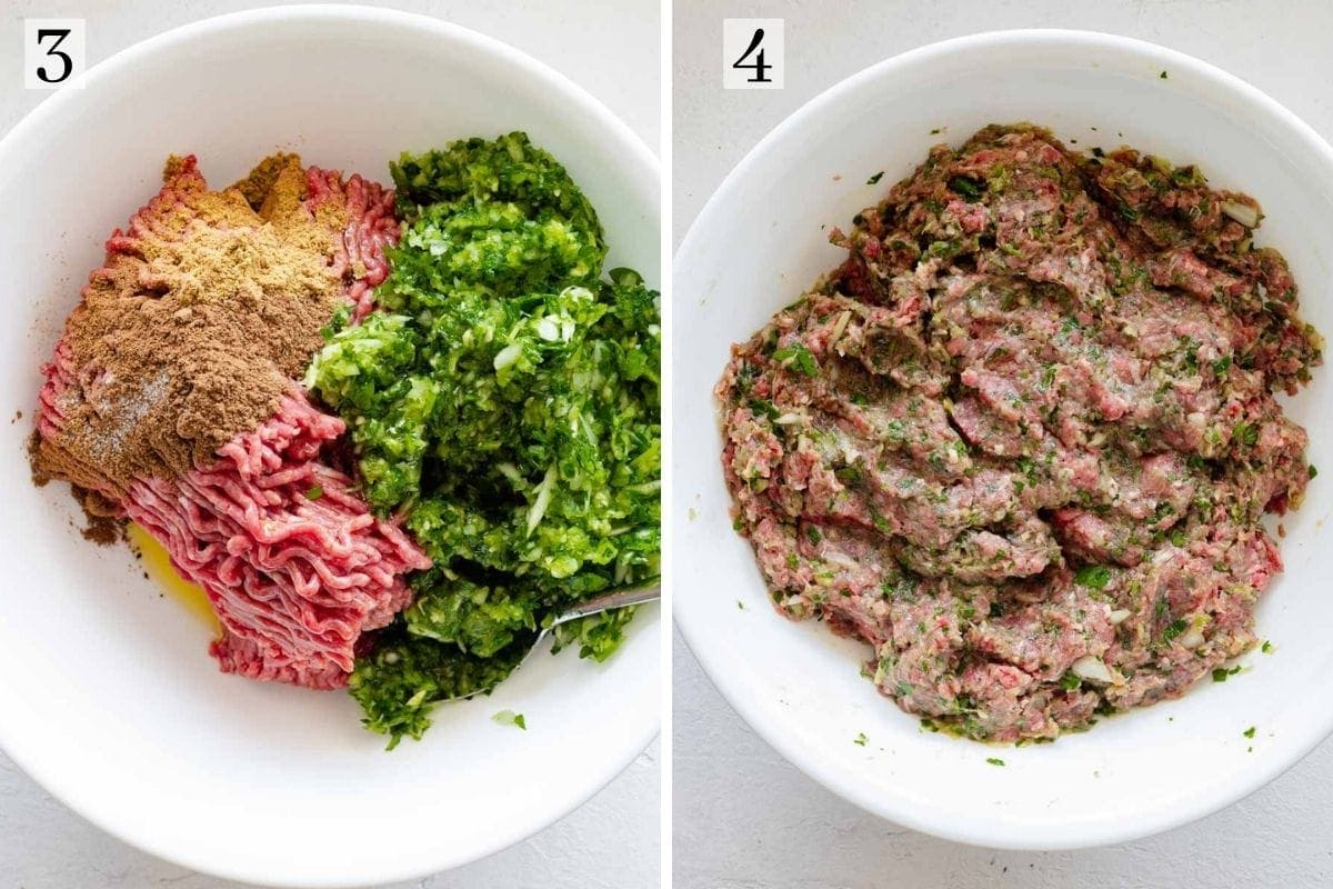 Ground beef, spices, parsley, onions and garlic mixed together