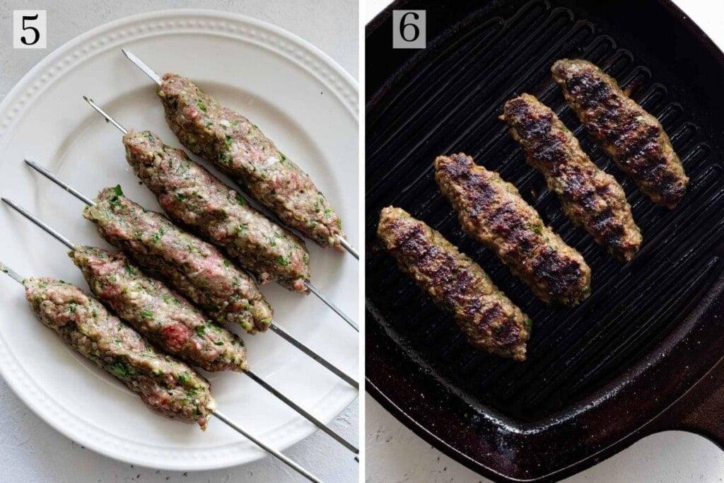 Kafta skewers grilled on cast iron pan