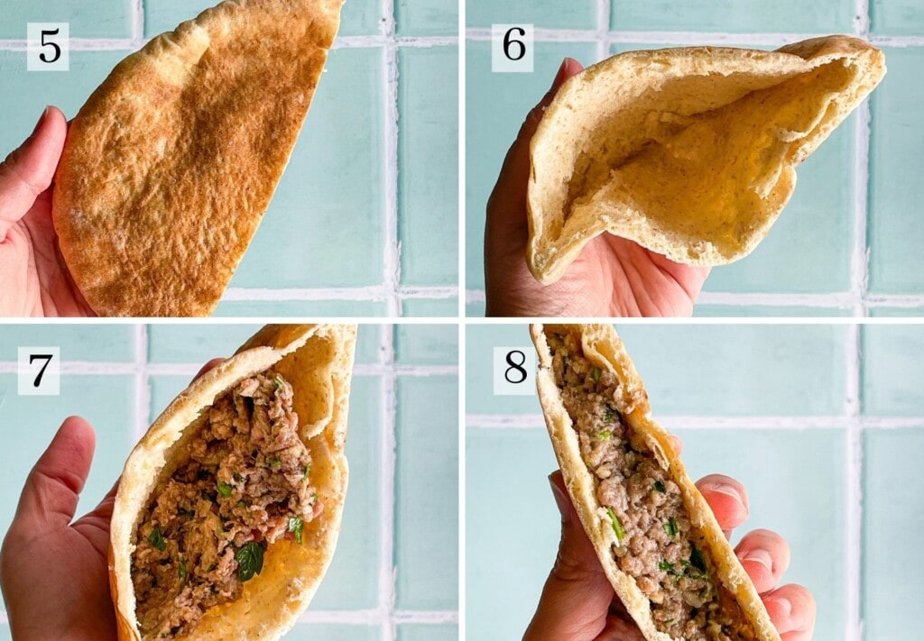 Process steps for stuffing a pita with ground beef
