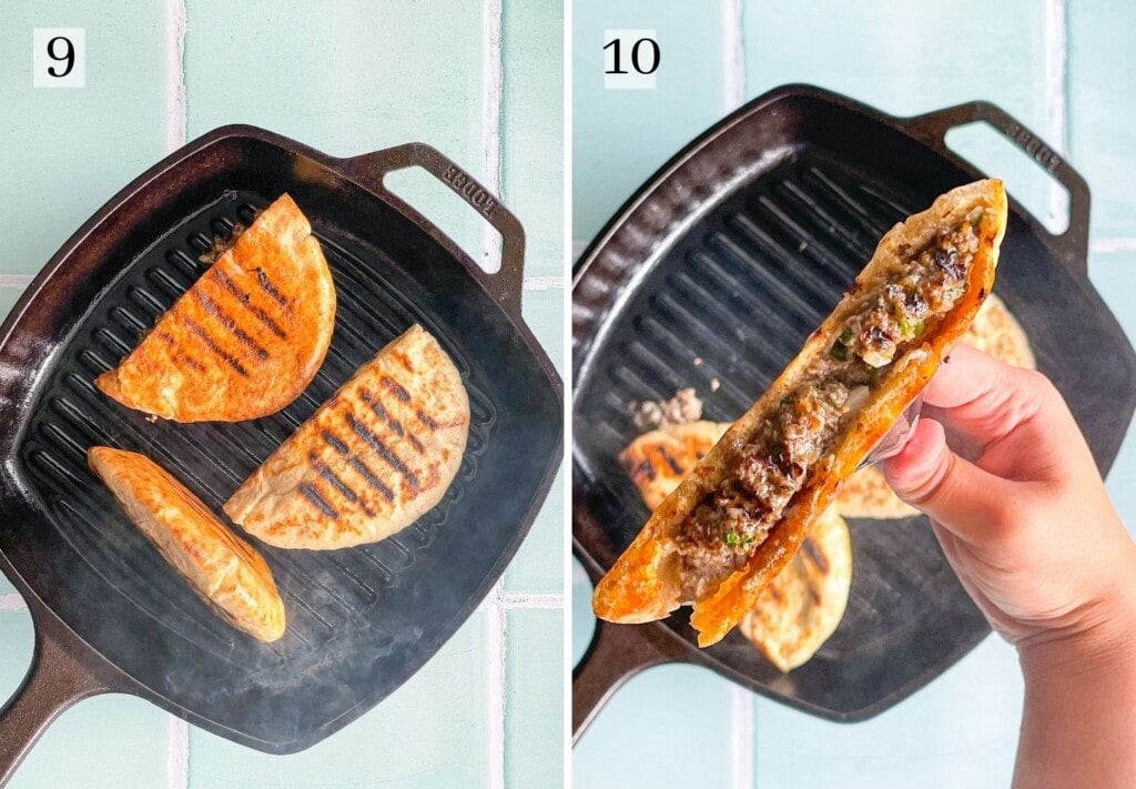Grilling pita stuffed with ground beef on cast iron grill