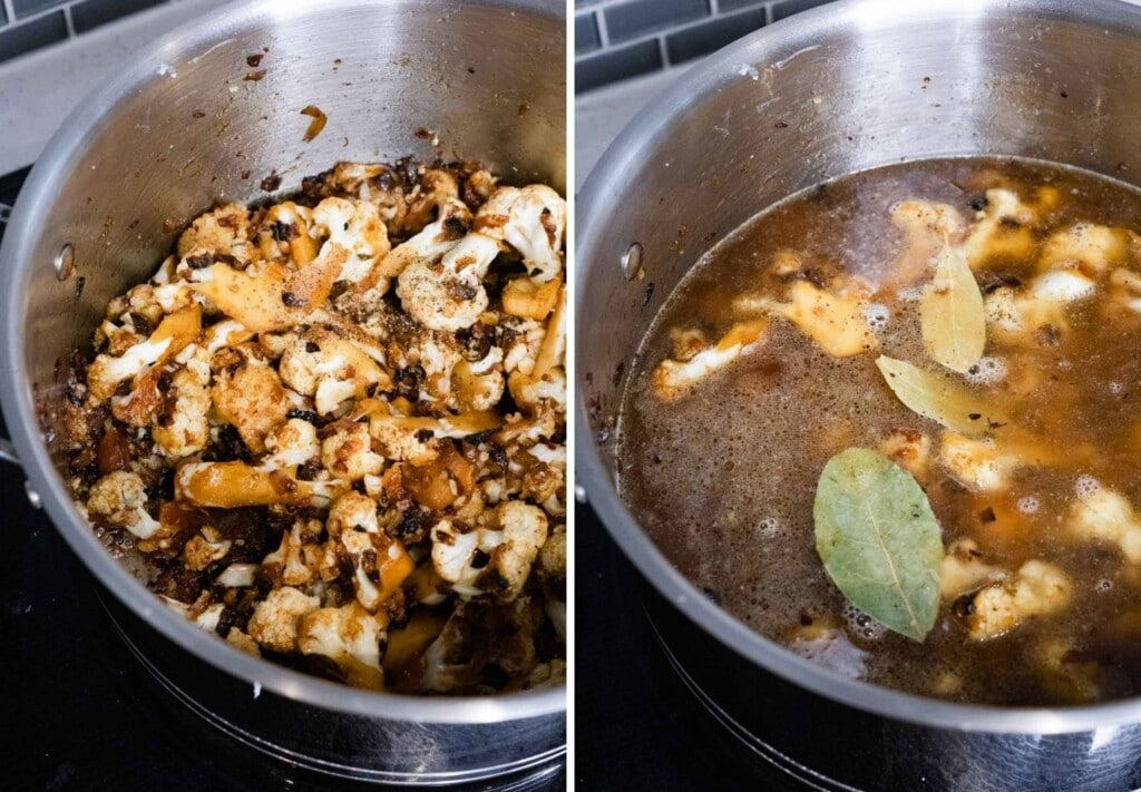 process steps for making cauliflower soup